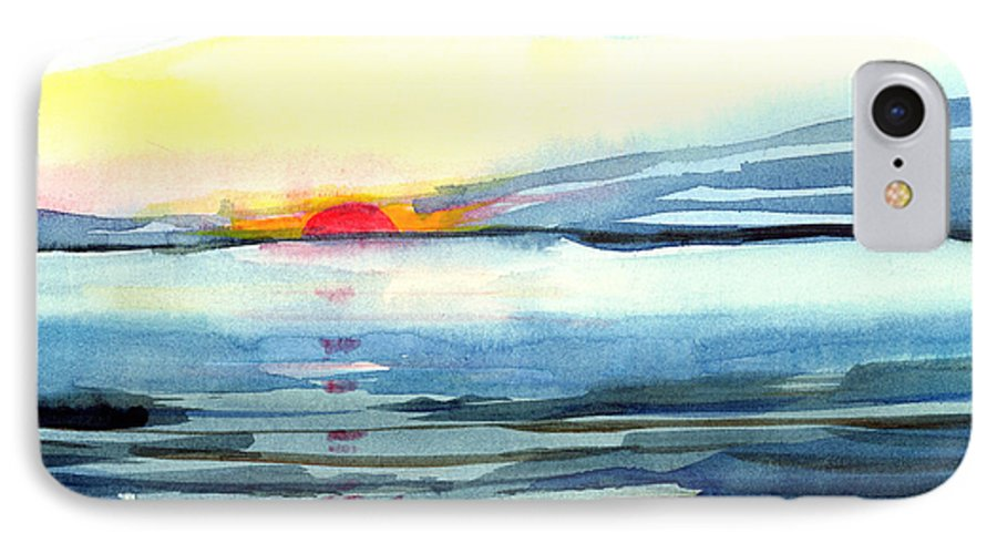 Landscape Seascape Ocean Water Watercolor Sunset IPhone 7 Case featuring the painting Sunset by Anil Nene
