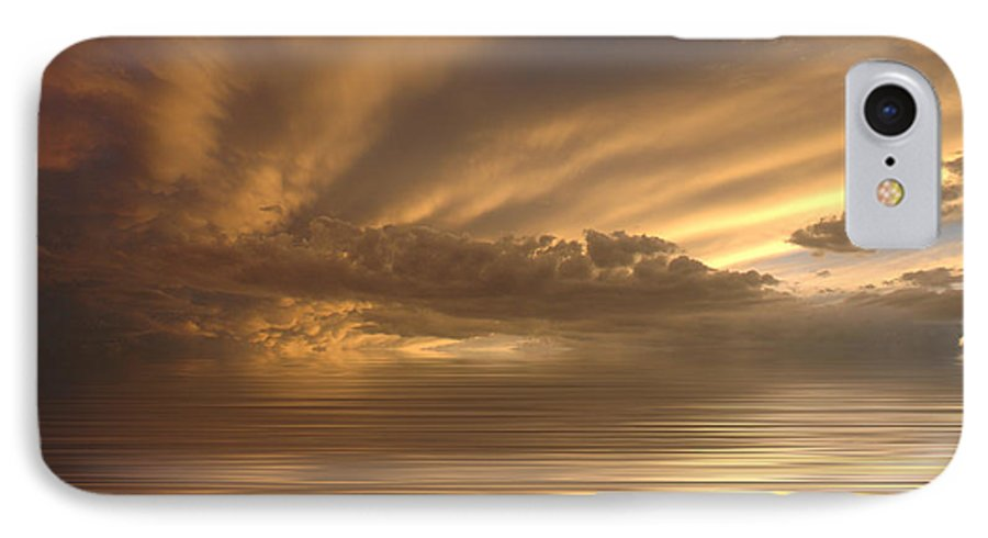 Sunset IPhone 7 Case featuring the photograph Sunset At Sea by Jerry McElroy