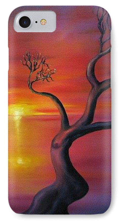 Landscape IPhone 7 Case featuring the painting Sunset Dance Fantasy Oil Painting by Natalja Picugina