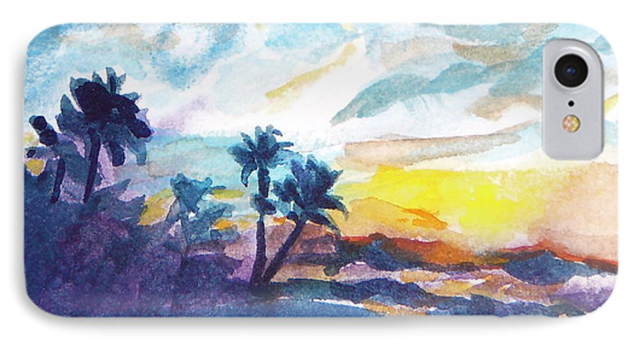 Landscape IPhone 7 Case featuring the painting Sunset In Hawaii by Jan Bennicoff
