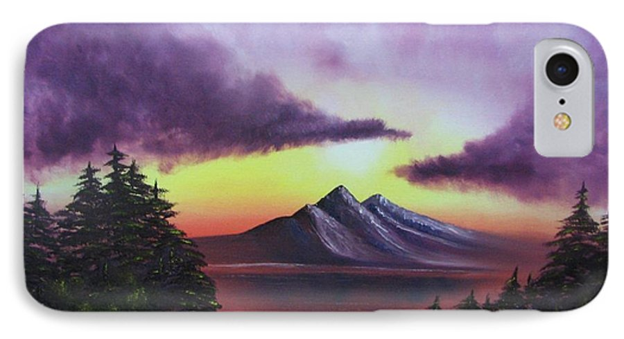 Sunset IPhone 7 Case featuring the painting Sunset In Mountains Original Oil Painting by Natalja Picugina