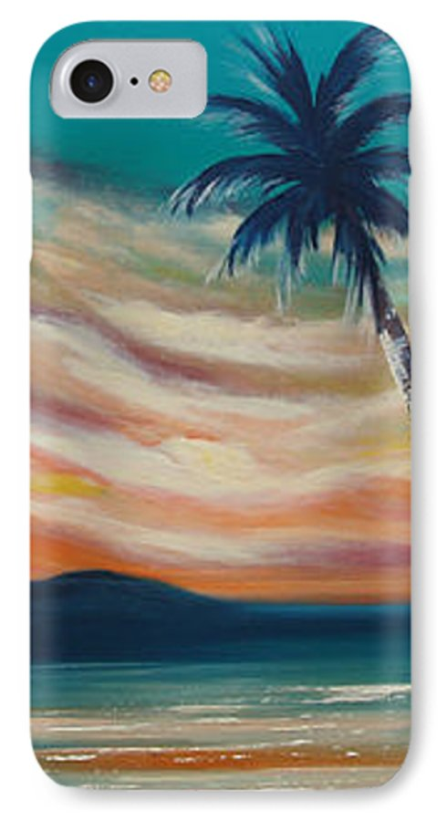 Sunset IPhone 7 Case featuring the painting Sunset In Paradise by Gina De Gorna