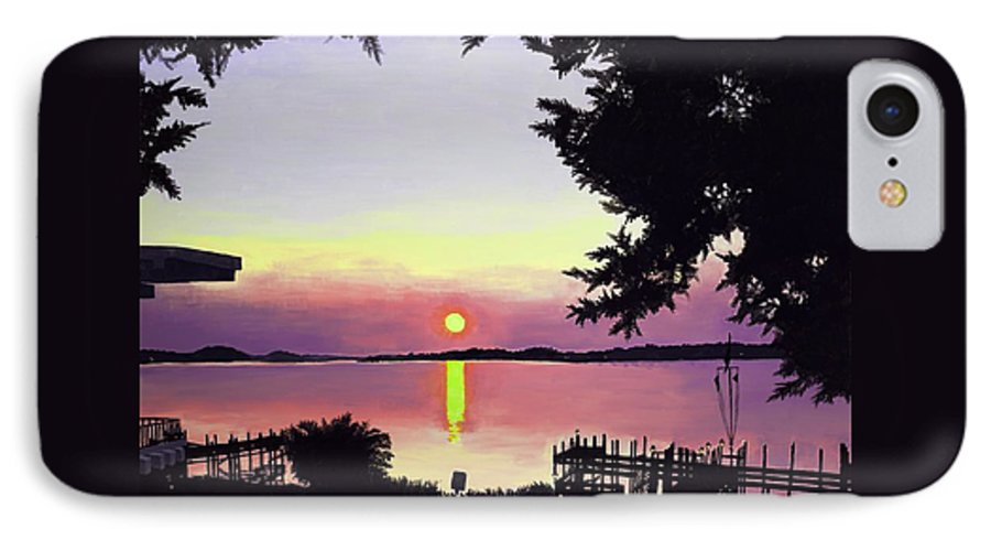 Sunset On Lake IPhone 7 Case featuring the painting Sunset On Lake Dora by Judy Swerlick
