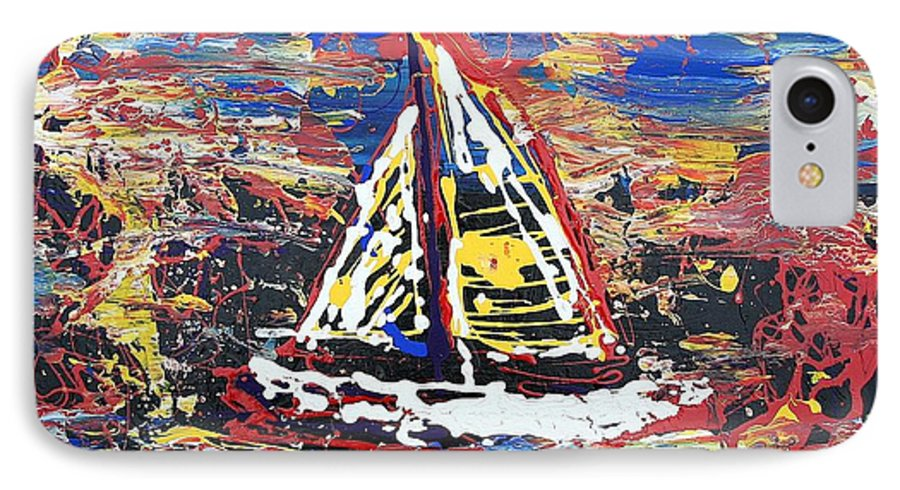 Sailboat IPhone 7 Case featuring the painting Sunset On The Lake by J R Seymour