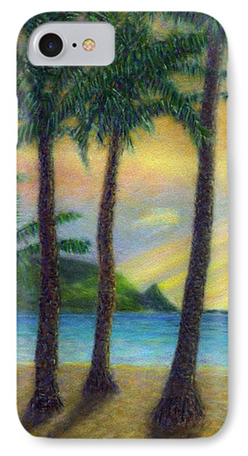 Rainbow Colors Pastel IPhone 7 Case featuring the painting Sunset Palms by Kenneth Grzesik