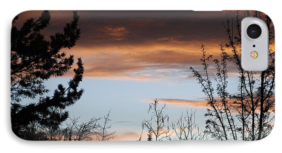 Sunset IPhone 7 Case featuring the photograph Sunset Thru The Trees by Rob Hans