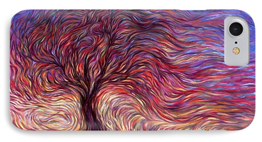 Tree IPhone 7 Case featuring the painting Sunset Tree by Hans Droog