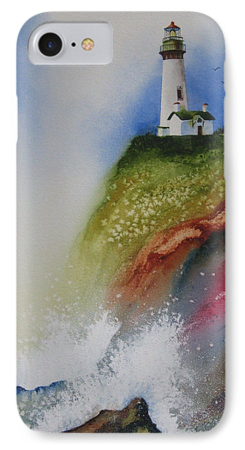 Lighthouse IPhone 7 Case featuring the painting Surfside by Karen Stark