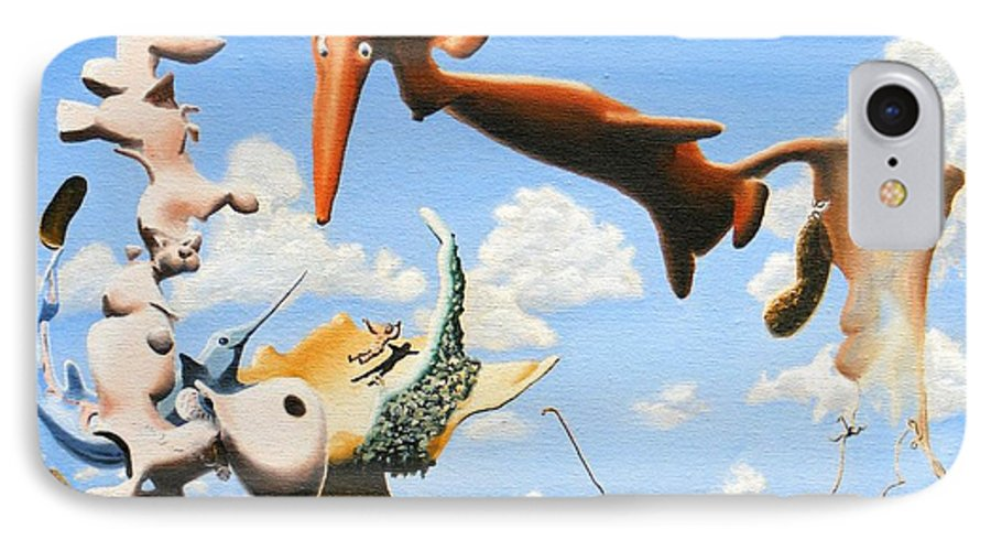 Surreal IPhone 7 Case featuring the painting Surreal Friends by Dave Martsolf
