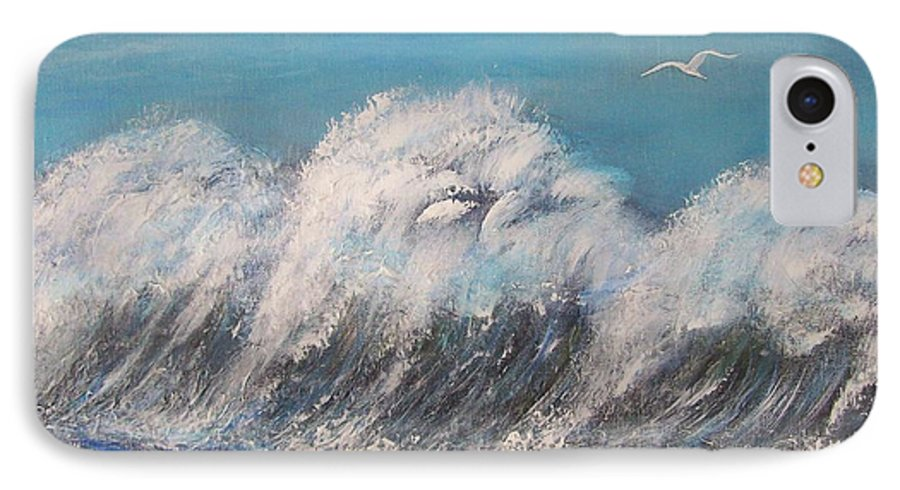 Surreal Tsunami IPhone 7 Case featuring the painting Surreal Tsunami by Tony Rodriguez