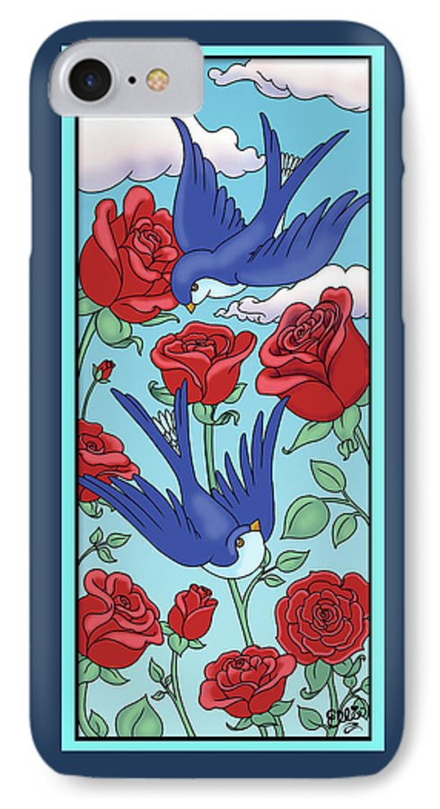Birds IPhone 7 Case featuring the digital art Swallows And Roses by Eleanor Hofer