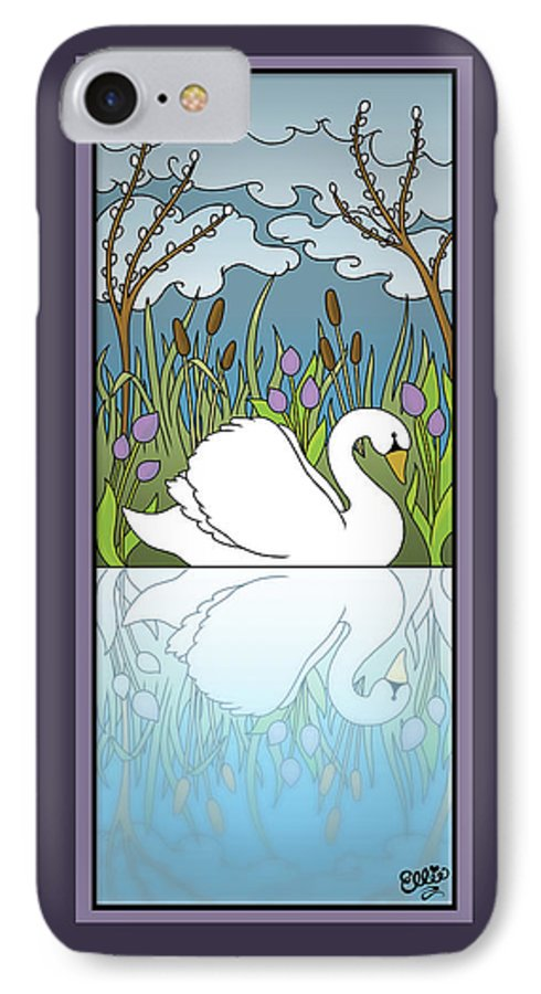Swan IPhone 7 Case featuring the digital art Swan On The River by Eleanor Hofer