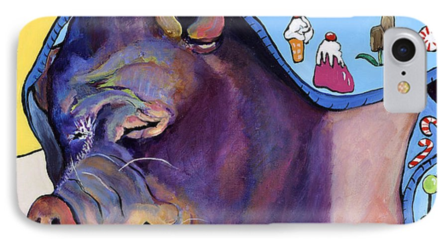 Farm Animal IPhone 7 Case featuring the painting Sweet Dreams by Pat Saunders-White