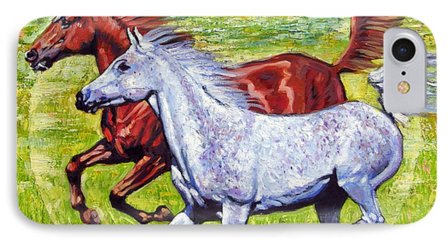 Horses Running IPhone 7 Case featuring the painting Sweet Harmony by John Lautermilch