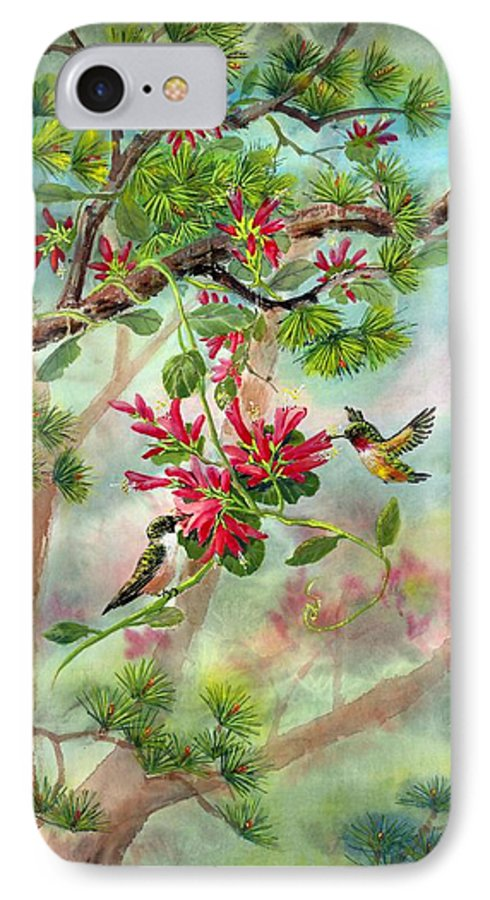 Hummingbirds IPhone 7 Case featuring the painting Sweet Journey by Eileen Fong