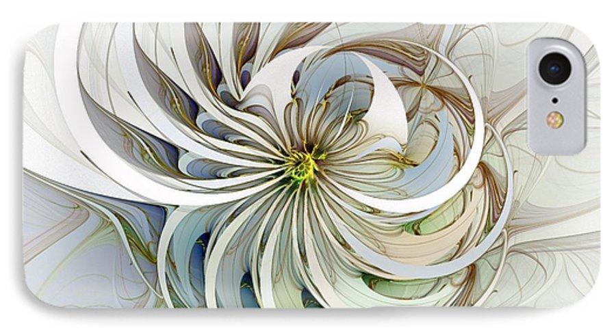 Digital Art IPhone 7 Case featuring the digital art Swirling Petals by Amanda Moore