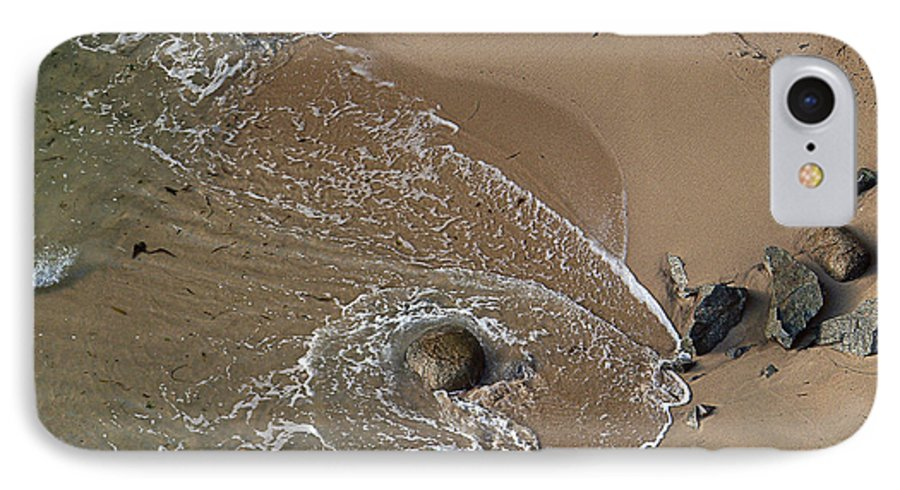 Big Sur IPhone 7 Case featuring the photograph Swirling Surf And Rocks by Charlene Mitchell