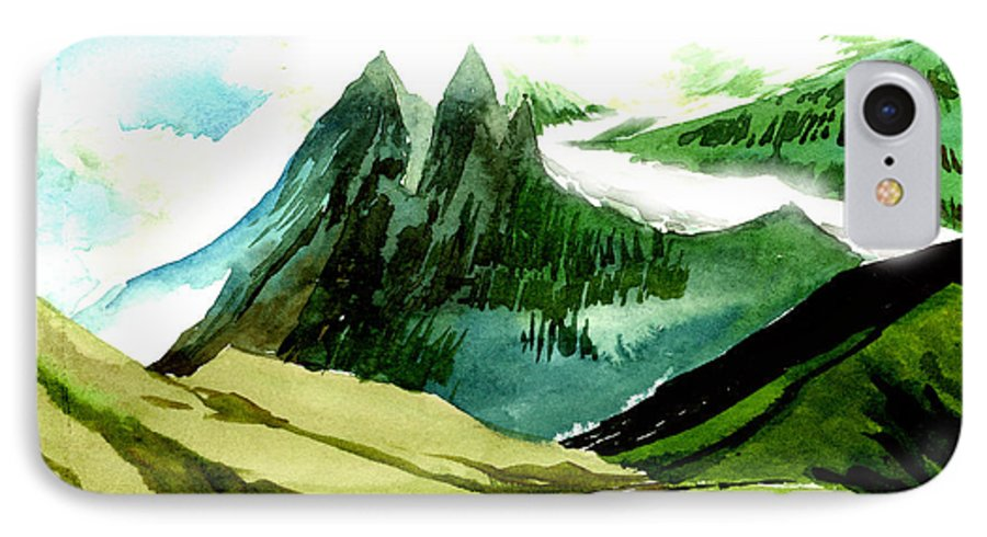 Landscape IPhone 7 Case featuring the painting Switzerland by Anil Nene