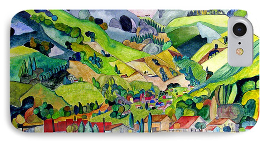 Landscape IPhone 7 Case featuring the painting Switzerland by Patricia Arroyo