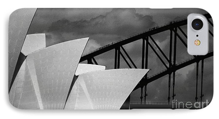Sydney Opera House IPhone 7 Case featuring the photograph Sydney Opera House With Harbour Bridge by Avalon Fine Art Photography