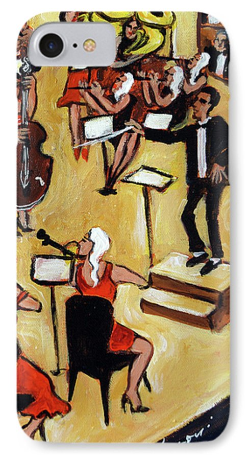 Carnegie Hall Orchestra IPhone 7 Case featuring the painting Symphony by Valerie Vescovi