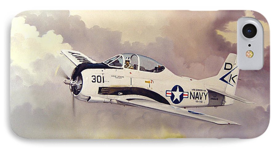 Military IPhone 7 Case featuring the painting T-28 Over Iowa by Marc Stewart