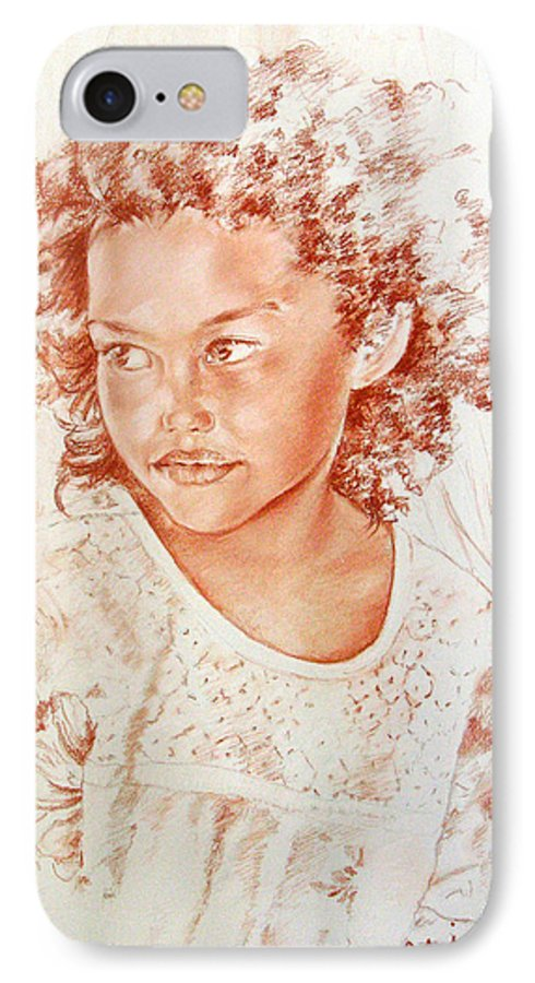 Drawing Persons IPhone 7 Case featuring the painting Tahitian Girl by Miki De Goodaboom