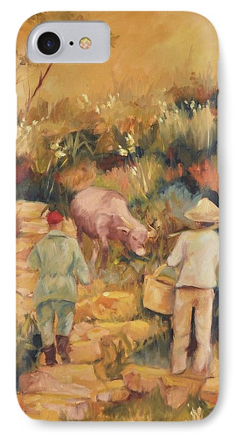 Water Buffalo IPhone 7 Case featuring the painting Taipei Buffalo Herder by Ginger Concepcion