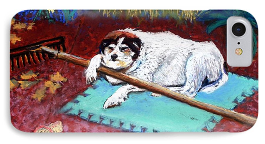 Dog IPhone 7 Case featuring the painting Take A Break by Minaz Jantz