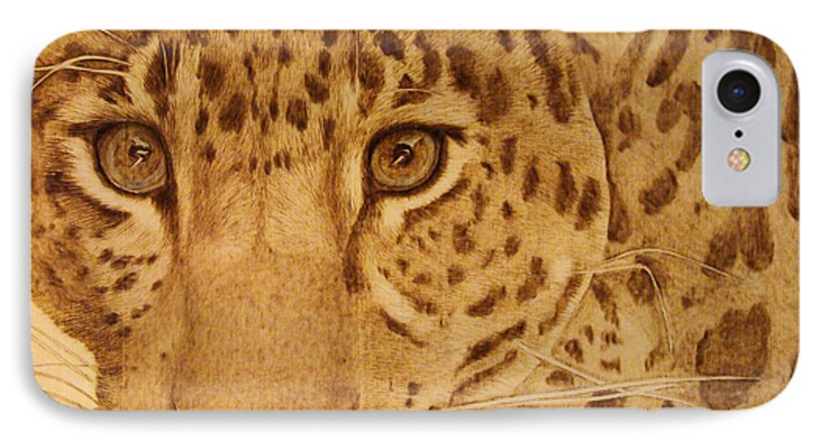 Jaguar; Sepia; Wild Life; Africa; Eyes; Zoo; Cat; IPhone 7 Case featuring the pyrography Take One Step Closer by Jo Schwartz
