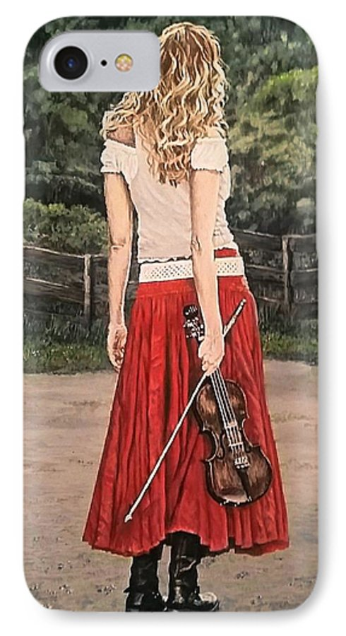 Painting IPhone 7 Case featuring the painting Taking A Break by Sheryl Gallant
