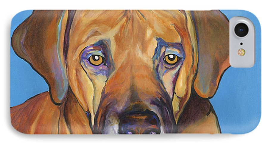 Rhodesian Ridgeback Dog Ridgeback African Colorful Orange Gold Yellow Red IPhone 7 Case featuring the painting Talen by Pat Saunders-White