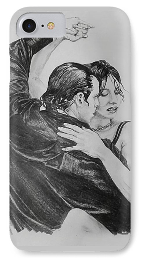 Sketch IPhone 7 Case featuring the drawing Tango by Sheryl Gallant
