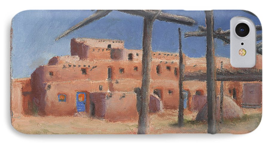 Taos IPhone 7 Case featuring the painting Taos Pueblo by Jerry McElroy