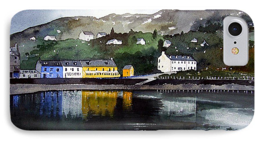 Scottish Fishing Harbour IPhone 7 Case featuring the painting Tarbert Reflections by Paul Dene Marlor