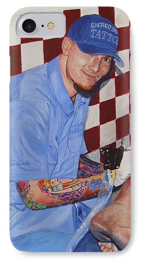 Tattoo IPhone 7 Case featuring the painting Tattoo Artist - Brandon Notch by Quwatha Valentine
