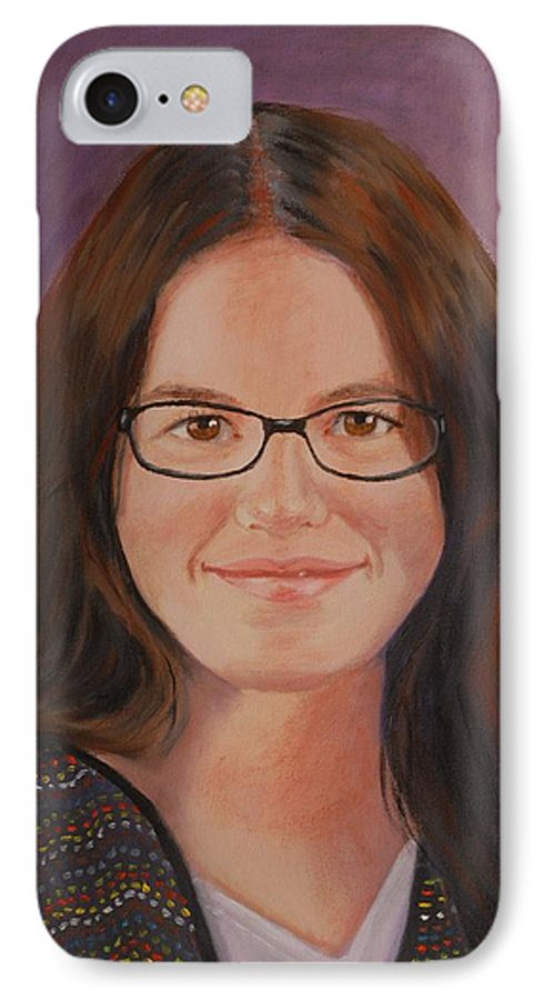 Portrait IPhone 7 Case featuring the painting Taylor Snow by Quwatha Valentine
