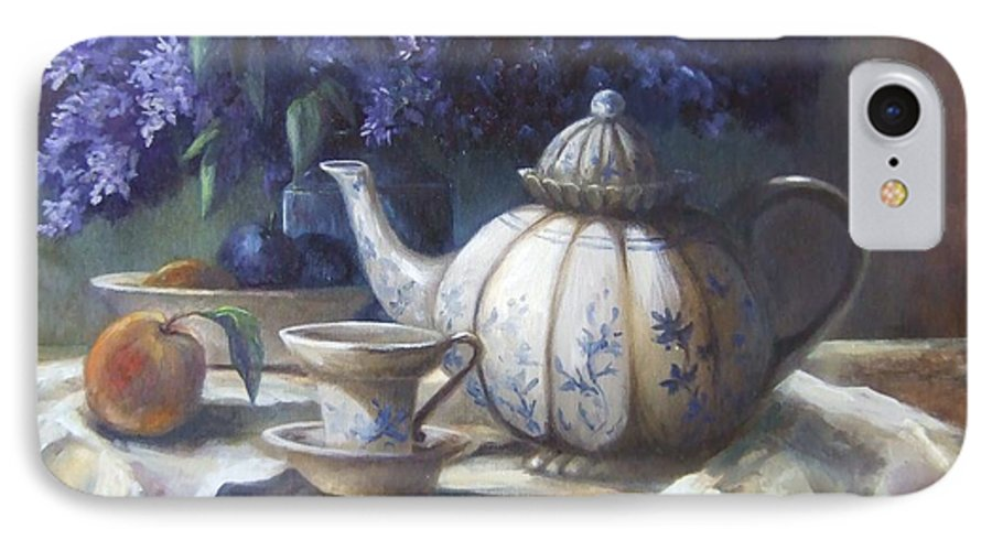 Teapot IPhone 7 Case featuring the painting Tea And Lilacs by Ruth Stromswold
