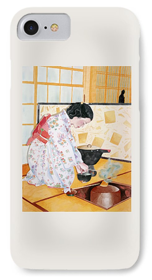 Japanese Woman Performing Tea Ceremony IPhone 7 Case featuring the painting Tea Ceremony by Judy Swerlick