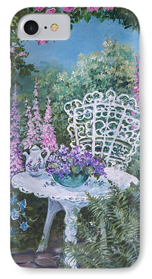 Garden;flowers;teapot;ornamental;roses; IPhone 7 Case featuring the painting Tea Time In The Garden by Lois Mountz