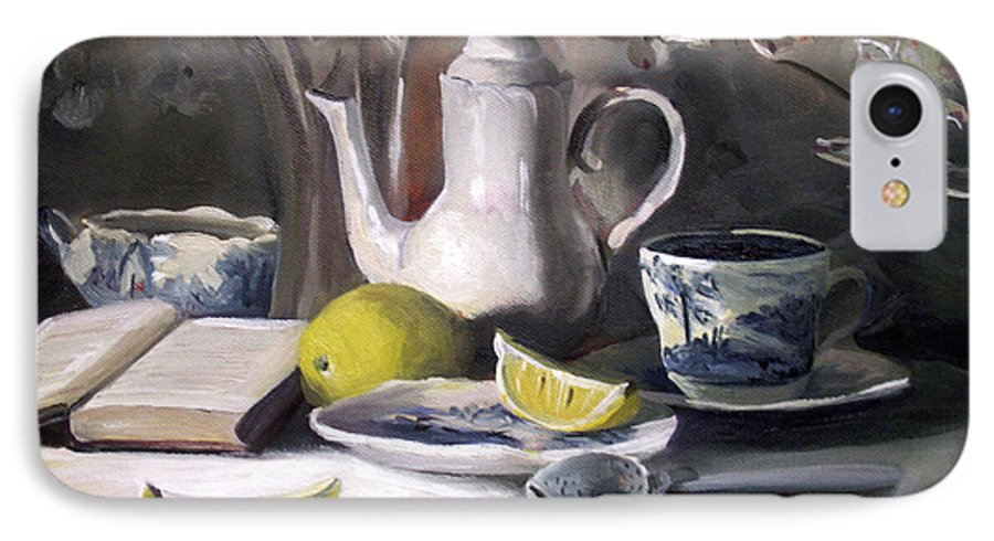 Lemon IPhone 7 Case featuring the painting Tea With Lemon by Nancy Griswold