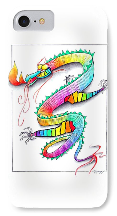 Rainbow IPhone 7 Case featuring the drawing Technicolor Dragon -- Rainbow-colored Whimsical Dragon by Jayne Somogy