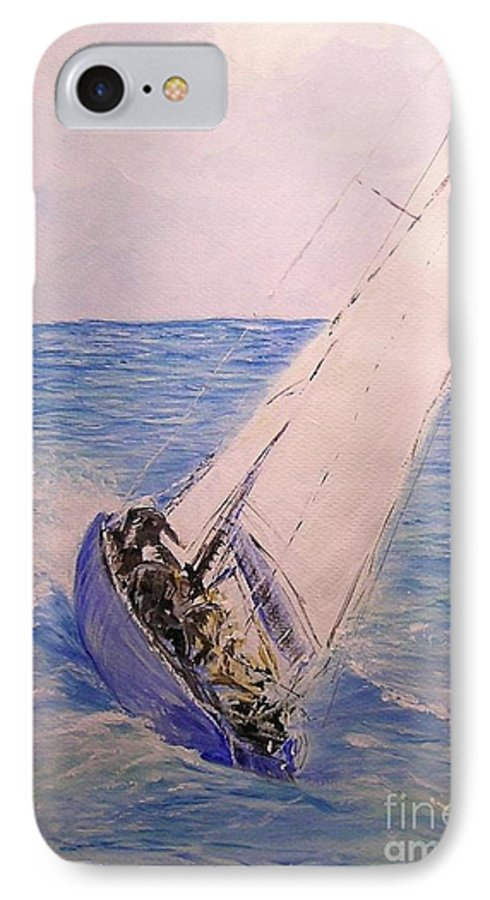 Seascape IPhone 7 Case featuring the painting Tell Tails In The Wind by Lizzy Forrester