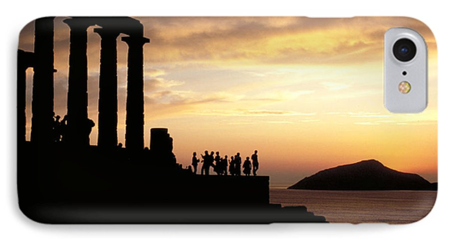Tourists IPhone 7 Case featuring the photograph Temple Of Poseiden In Greece by Carl Purcell