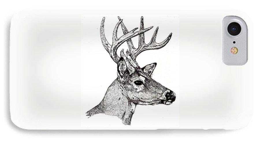 Deer IPhone 7 Case featuring the drawing Ten Point Buck by Debra Sandstrom