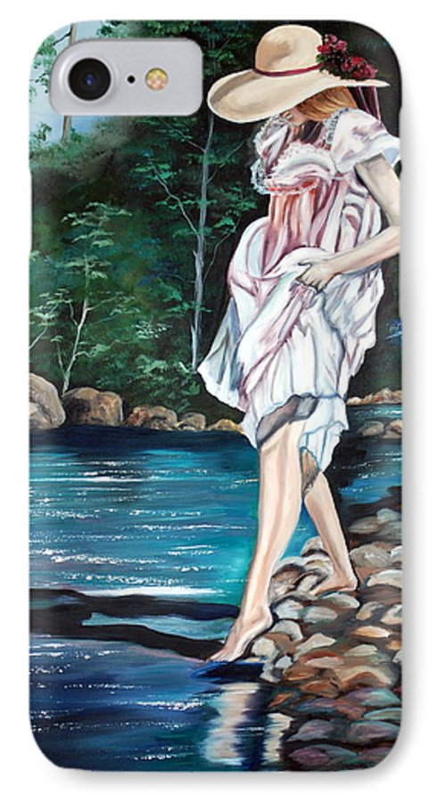 Vintage IPhone 7 Case featuring the painting Testing The Water by Margaret Fortunato