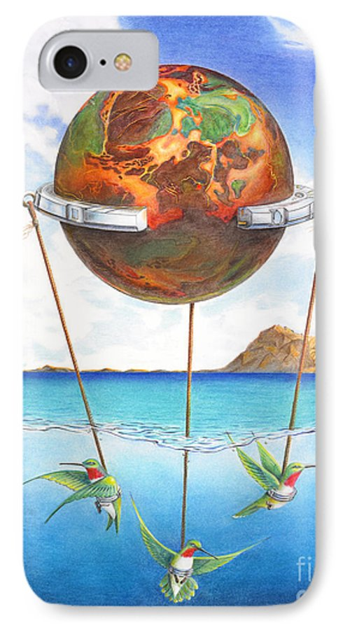 Surreal IPhone 7 Case featuring the painting Tethered Sphere by Melissa A Benson