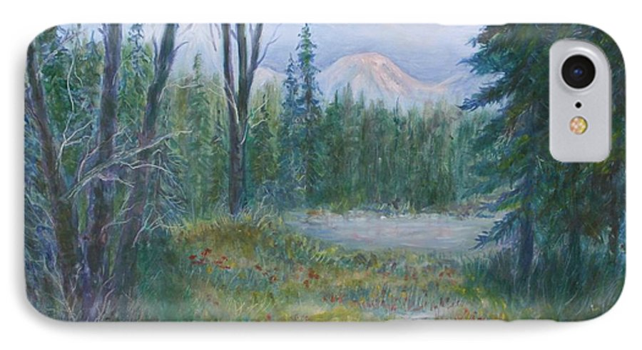 Landscape IPhone 7 Case featuring the painting Teton Valley by Ben Kiger