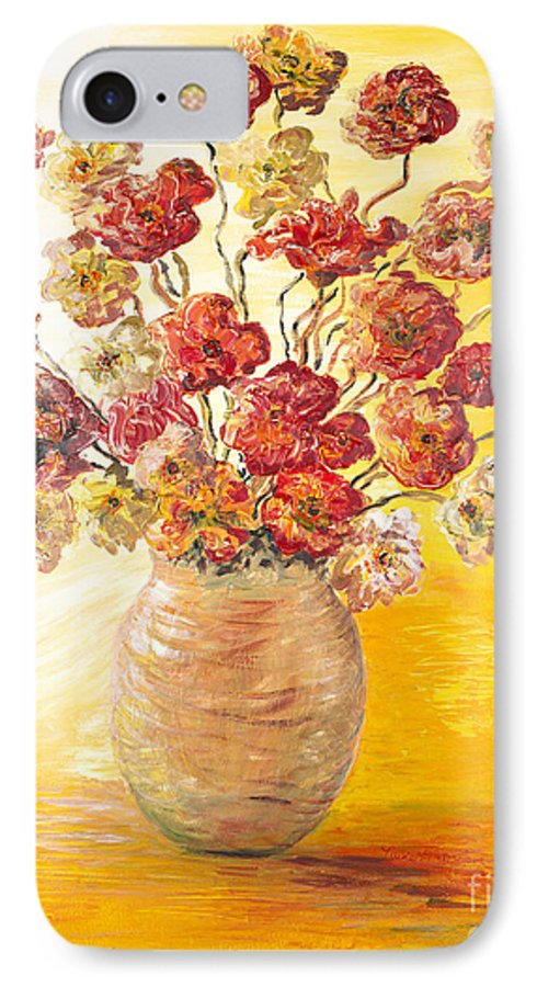 Flowers IPhone 7 Case featuring the painting Textured Flowers In A Vase by Nadine Rippelmeyer
