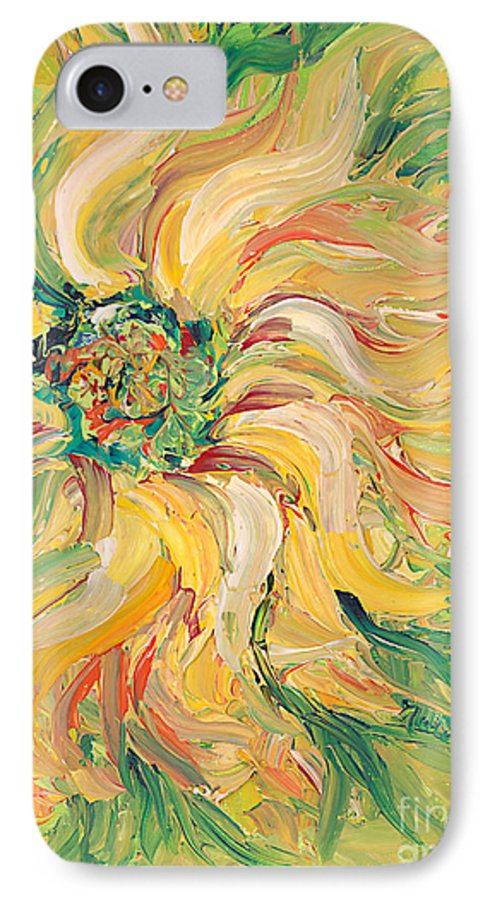 Texture IPhone 7 Case featuring the painting Textured Green Sunflower by Nadine Rippelmeyer